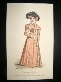 Lady's Magazine 1824 H/Col Regency Fashion Print. Carriage Costume 53